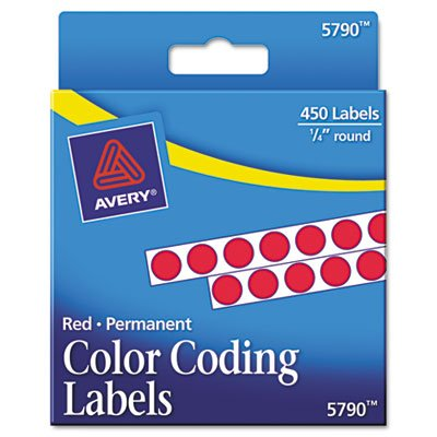 Avery Products - Avery - Permanent Self-Adhesive Color-Coding Labels, 1/4in dia, Red, 450/Pack - Sold As 1 Pack - For reliable cover-ups and lasting IDs. - Ideal for price marking, routing, organizing, highlighting, scheduling and more. - Sticks to bottles, cans, cartons—most smooth surfaces. - Permanent adhesive ensures labels stay in place. - Self Adhesive Permanent Color