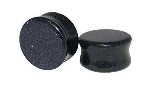 - PAIR of Blue Midnight Goldstone Stone Plugs Sandstone Gauges - up to 38mm available! (3/4