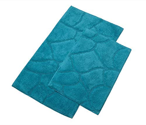 TreeWool Bathroom Rugs (21x34 & 17x24 Inch) Pebble Accent 2-Piece Mat Set, Extra Soft Super Absorbent Machine Washable Cotton Bath Mats with Latex Sprayed Non-Skid Backing - Turquoise