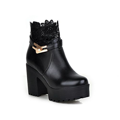 A&N Girls Metal Ornament Lace Platform Chunky Heels Imitated Leather Boots Black 4gxAGu