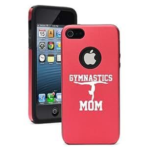 iPhone 5 5s Aluminum & Silicone Hard Case Cover Gymnastics Mom (Red)