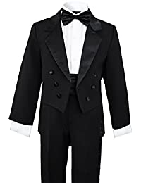 Little Boys Black Tuxedo with a Tail (6, Black)