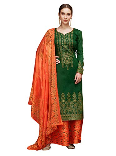 - Ready to Wear Multi Colored Pure Silk Salwar Suit. (Green, 0X-Plus)