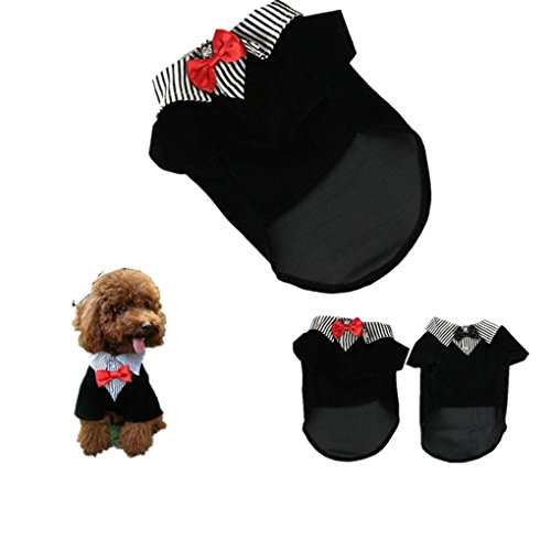 Pet Shirt,Haoricu Western Style Men's Suit Bow Tie Dog Costume Small Dog Cat Pet Clothing Puppy Apparel Teddy Dog Wedding Suit (L, Red)