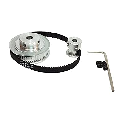 BEMONOC HTD 2GT Timing Belt Pulley Kits GT2 Timing Belt Closed-loop 200mm Pulley 20 Teeth and 60 Teeth for 3D Printer Accessories