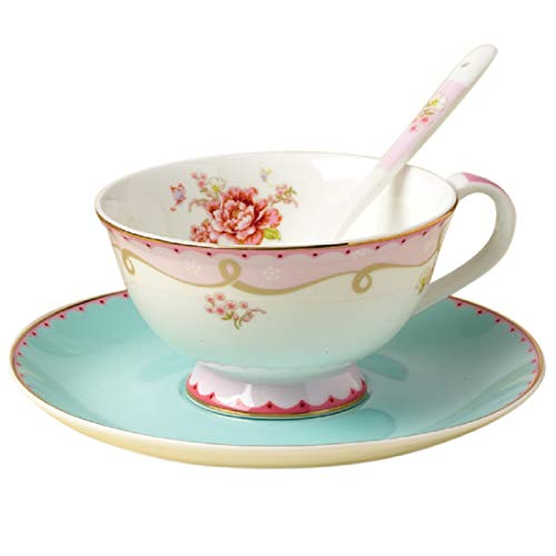 Jusalpha Vintage Rose Bone China Teacup Spoon and Saucer Set TCS02