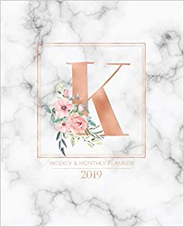 Amazon Com Weekly Monthly Planner 2019 Rose Gold Monogram