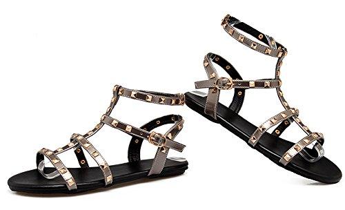 Rivets Décor Femme Chaussures Aisun Sandales Plates Classique Bande Gris nxEg4tw4