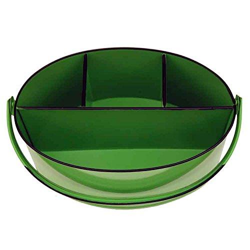 Kraft Klub, Inc. Lime Green Enamel Oval Utensil Holder - 11'' x 7'' x 6''