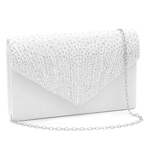 Milisente Clutch Purses for Women evening Glitter Wedding Purse Crystal Envelope Clutches Shoulder Bags (White) by Milisente (Image #7)
