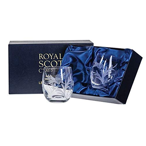 Glass Thistle - Royal Scot Crystal Flower of Scotland Hand Cut Glass Whisky Barrel Tumblers Glasses Set of 2 in Presentation Box 9oz | Scottish Whisky