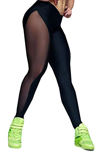 Nulibenna Women's Mesh Stretchy Workout Sportys Yoga Leggings Ninth Pants 411zqOFl1pL