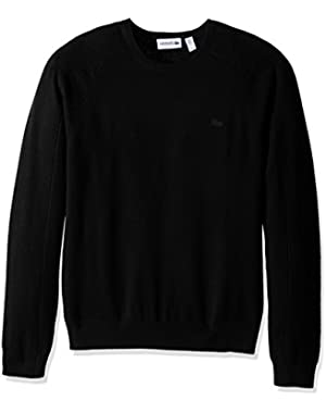 Men's 100% Cashmere Crewneck Sweater, AH1849-51, Black