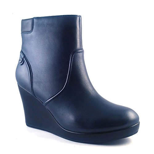 New Leather lazaret Lacoste 4 8 Bootie Wedge Navy 5 Women's H6xaawd