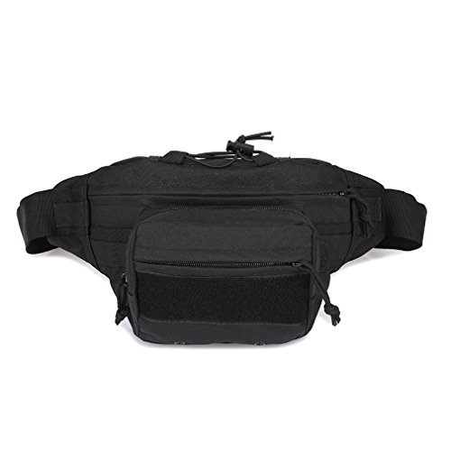 Tactical Waist Pack Military Molle Fanny Packs Bum Bag EDC Utility Belt Pouch Woodland Camo Hip Pack Waist Bag Waterproof Nylon Bag for Hiking Climbing Running Travel (Black) - Woodland Nylon Belt