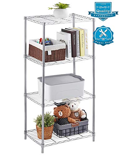 AOOU Shelf 4-Tier Shelving Unit, Wire Shelf Unit Free Standing, Classic Metal Steel Storage Rack Sturdy for use in Pantry, Living Room, Kitchen, Garage, Coated with Silver