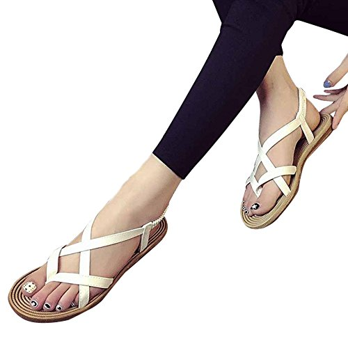 Anboo Women Concise Strappy Flat Sandals Bandage Peep-Toe Outdoor Beach Gladiator Shoes White