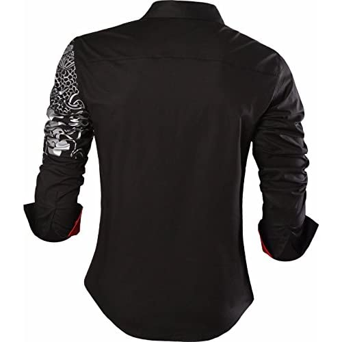FLCH+YIGE Mens Casual Button Down Breathable Long Sleeve Shirt