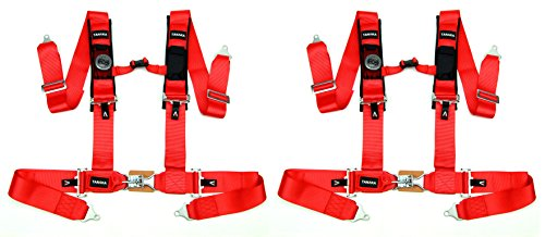 (Tanaka Latch and Link 4 Point Safety Harness Set with Ultra Comfort Heavy Duty Shoulder Pads and Utility Pockets Ideal for UTV and Sand Sports PAIR (Red))