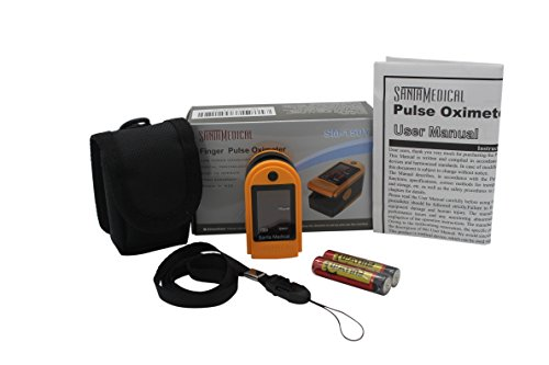 Santamedical-Generation-2-Fingertip-Pulse-Oximeter-Oximetry-Blood-Oxygen-Saturation-Monitor-with-carrying-case-batteries-and-lanyard-Orange