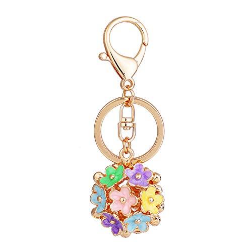 (Daisy Keychain Alloy Colorful Flower Keychain for Bag Purse Decoration Rhinestone Daisy Pendant Keyring)