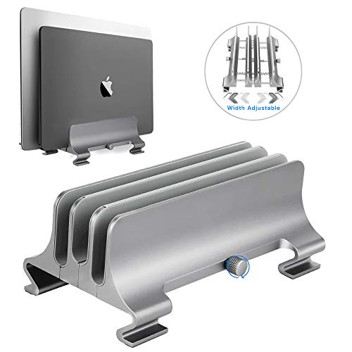 Vertical Laptop Stand [Upgrade Version],Syslux 3 Slots Space-Saving Aluminum Desktop Stand Holder with Adjustable Dock Size,Compatible with All MacBook/Surface/Lenovo/Dell/Gaming Laptops (Silver)