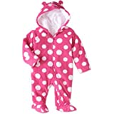 Healthtex Baby Girl Pram Snowsuit Faux Fur Fleece Footed Suit Choose Your Style Sizes Newborn, 0-3,3-6, 6-9 Months (3-6 Month, Pink Polka Dot)