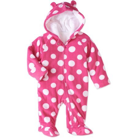Hooded Snowsuit (Baby Girl Pram Snowsuit Faux Fur Fleece Footed Suit CHOOSE YOUR STYLE Sizes Newborn, 0-3,3-6, 6-9 Months (6-9 Month, Pink Polka Dot))