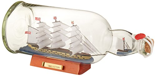 Hms Victory Wood Model Ship - Hampton Nautical HMS Victory Model Ship in a Glass Bottle, 11
