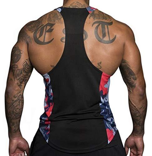 (Men's Muscle Stringer Tank Tops Athletic Workout Gym Fitness Vest T-Shirts (US-XL,)