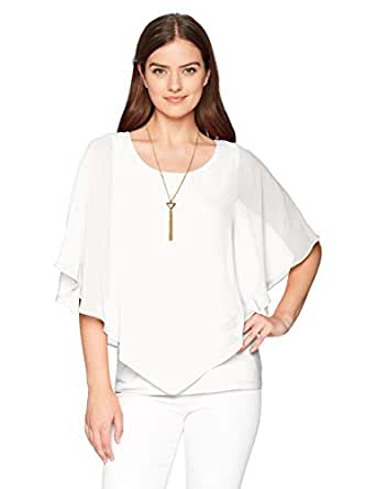 AGB Women's V Front Popover Top with Necklace, Off White, S