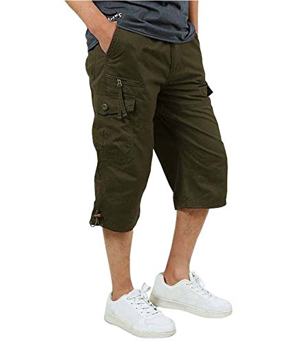 FASKUNOIE Military Shorts for Men Big and Tall Cotton Army Cargo Short Tactical Camo Capri Pants Below Knee Messenger Short Army Green