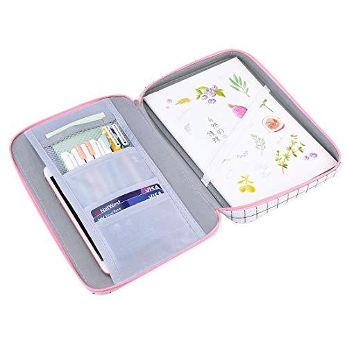 Oyachic Grid Pencil Case Big Capacity Pen Pouch Holder Zipper Passport Document Bag Stationary Organizer Box Makeup Bag for Travel,School,Office