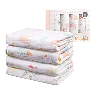 Viviland Baby Muslin Swaddle Blanket for Newborn Girls | 70% Bamboo 30% Cotton Receiving Blanket Swaddle Wrap with Gift Box | 4 Packs, 47 X 47 inch, Flamingo, Rabbit, Pineapple, Dandelion