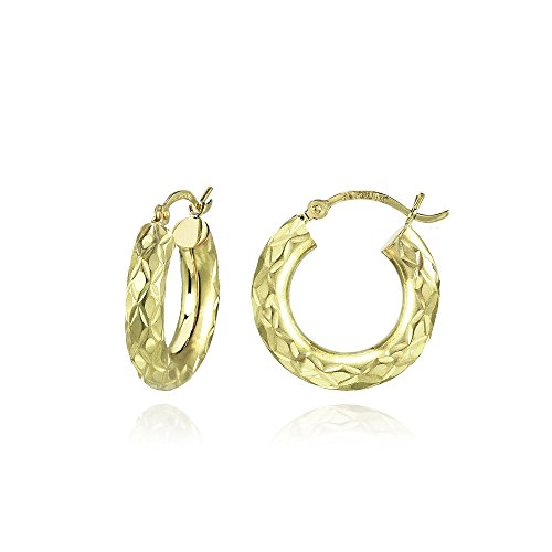14K Gold Diamond-Cut 4mm Lightweight Small Round Hoop Earrings, 19mm by Hoops & Loops