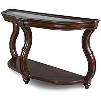 Amazon Com Doyle Sofa Table With Glass Inlay Top Brown