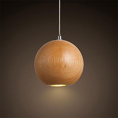 TOYM US Single Head Wood Spherical Creative Nordic Art Chandeliers Cafe Clothing Shop Bar Restaurant Decorative Lights by Chandelier