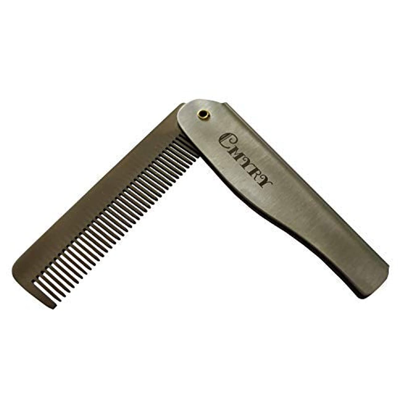 円形観光銅Folding Beard Hair Pocket Mustaches Pouch Comb Durable Anti-Static Comb for Men [並行輸入品]