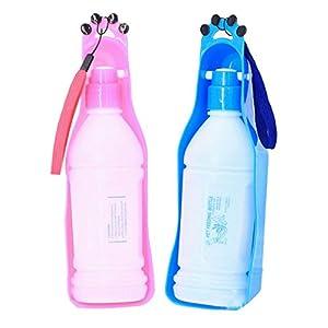 Voberry® Portable Pet Dog Cat Travel Water Drink Bottle Bowl Dispenser Feeder Plastic Foldable Pet Dog Cat Travel Water Drinking Feeder Bottle Bowl-christmas Gift (Blue)