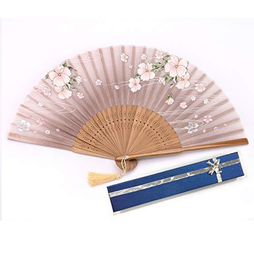 (Ouly Silk fan, Chinese fan, Chinese style,fan box protection,Japan fan Multiple Colors (Brown))