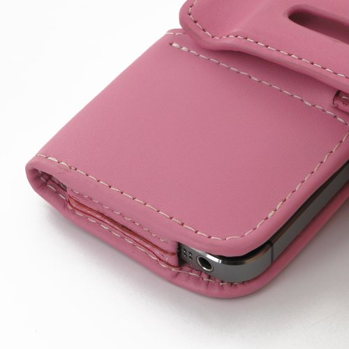 Apple iPhone 5s Leather Case / Cover (Handmade Genuine Leather) - Horizontal Pouch Type (Petal Pink) by Pdair