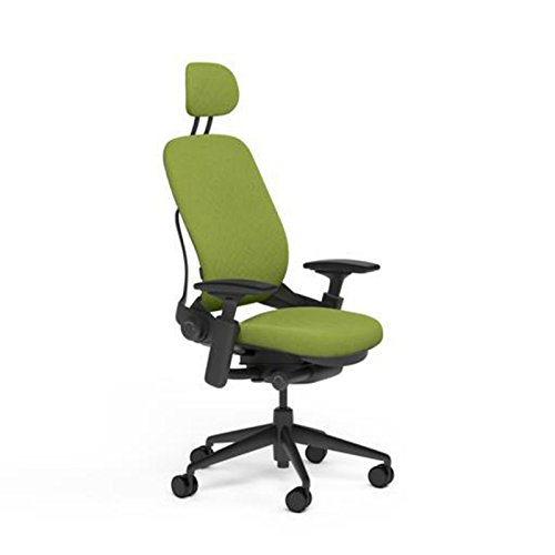 Steelcase Leap Desk Chair with Headrest in Buzz2 Meadow Gree