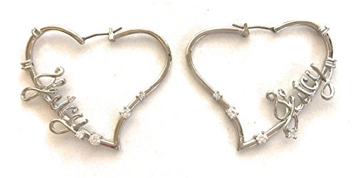 Juicy Couture Heart Earrings - Juicy Couture Silvertone Heart Hoop Earrings - J U I C Y Logo