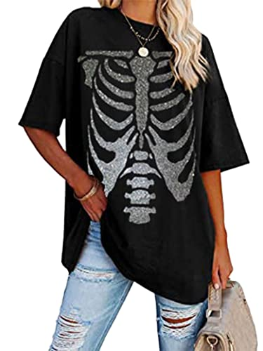 Epuyaito Women Casual Skull Printed Tee Crew Neckline Short Sleeve Baggy T-Shirt Black