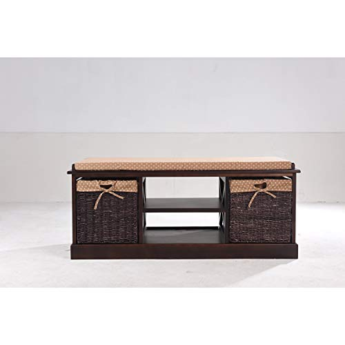 First Lighting Greenville Cherry-Finish Solid Wood and MDF Entryway Storage Bench