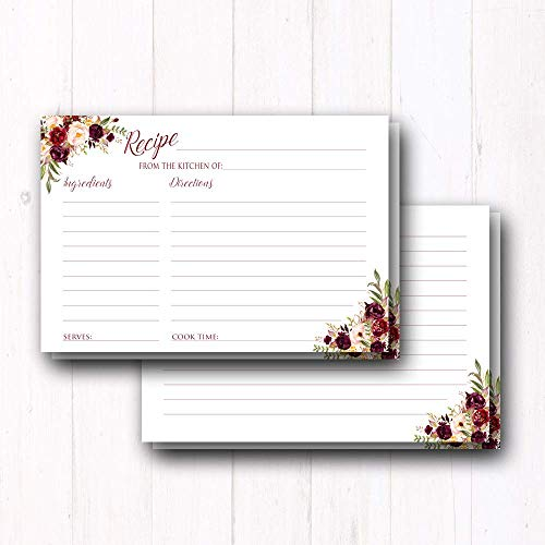 "Floral Recipe Cards - Double Sided 4x6"" Cards - Premium Thic"