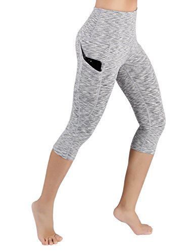 ODODOS High Waist Out Pocket Yoga Capris Pants Tummy Control Workout Running 4 Way Stretch Yoga Capris Leggings,SpaceDyeGray,Medium