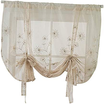 B Blesiya Corta Romana Porta Finestra Tenda Voile Tendaggio Shade Tie-up Home Decor – Fiori (117×160 cm)