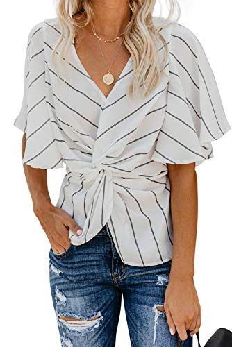 - Women Twist Front Tops - Summer Casual Ruffle Short Sleeves V Striped Loose Shirt Blouse White