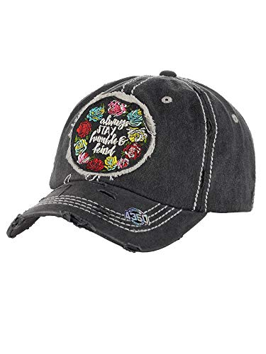 NYFASHION101 Women's Distressed Unconstructed Embroidered Baseball Cap Dad Hat, Humble & Kind, Black